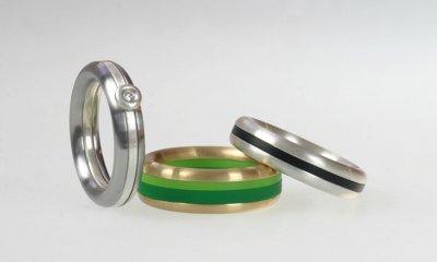 Ringkombinationen in Edelstahl, Silber oder Gold (halbrund) mit Acrylringen