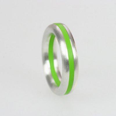 Ringkombination in Silber, halbrund, mit 1 gelbgrünen Acrylring