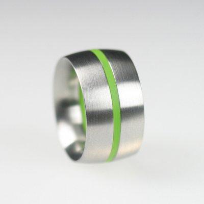 Ringkombination in Edelstahl (flach gewölbt) mit 1 gelbgrünen Acrylring