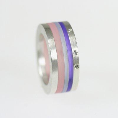 Ringkombination in Silber mit Brillanten und Acryl