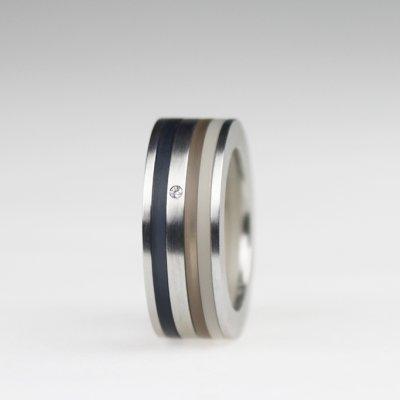 Ringkombination in Edelstahl mit 1 Brillant und transparent weißem, braunen und graufarbenen Acryl