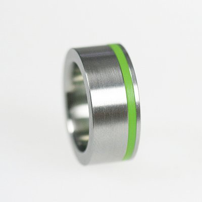 Ringkombination in Edelstahl mit 1 gelbgrünen Acrylring