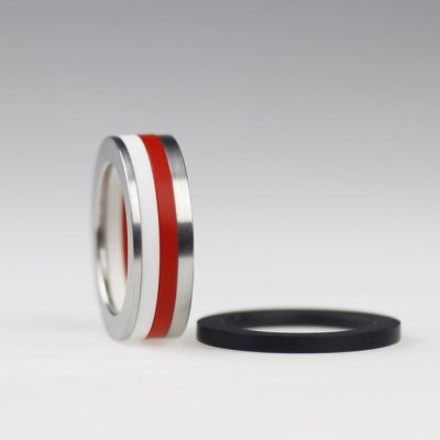 Ringkombination in Edelstahl mit 3 Acrylringen, beliebig wählbar