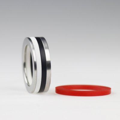 Ringkombination in Edelstahl, mit 3 Acrylringen, beliebig wählbar