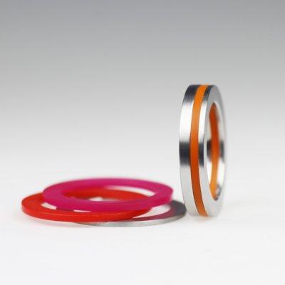 Ringkombination in Edelstahl, mit 3 Acrylringen beliebig wählbar